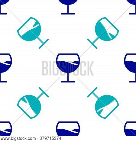 Blue Wine Glass Icon Isolated Seamless Pattern On White Background. Wineglass Sign. Vector Illustrat