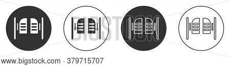 Black Old Western Swinging Saloon Door Icon Isolated On White Background. Circle Button. Vector Illu