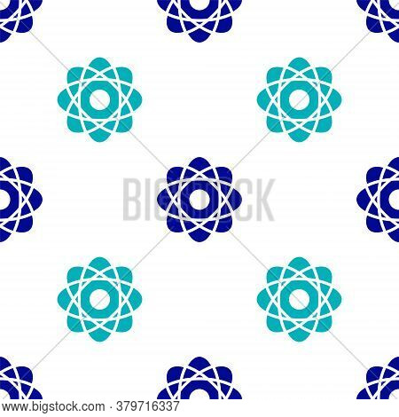 Blue Atom Icon Isolated Seamless Pattern On White Background. Symbol Of Science, Education, Nuclear