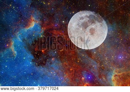Moon. Solar System. Cosmos Art. Elements Of This Image Furnished By Nasa