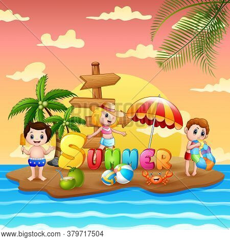 Summer Holiday With Children On Beach Island