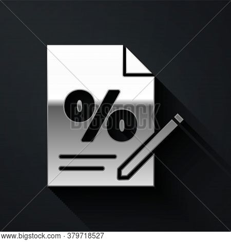 Silver Finance Document Icon Isolated On Black Background. Paper Bank Document For Invoice Or Bill C