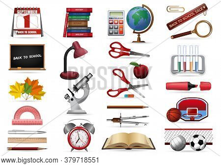 Realistic Icons Set On A School Theme. Back To School Icons Collection. Stationery, Office And Schoo