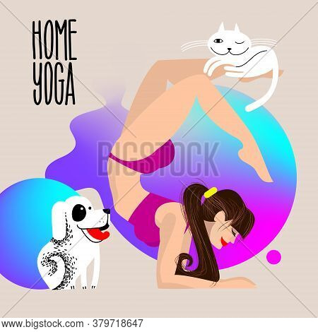Home Yoga With Pets. Dog And Cat With A Girl Who Is Standing In The Scorpion Asana. Physical Activit