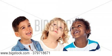 Pensive classmates looking up isolated on a white background