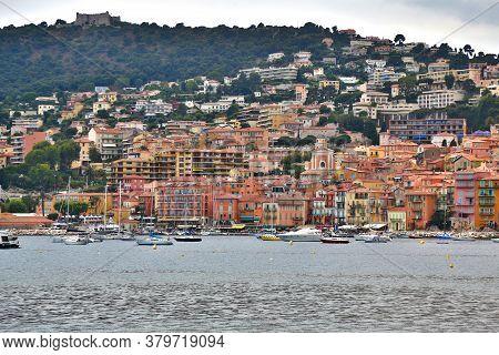Villefranche-sur-mer, France - June 17, 2014: Picturesque Mediterranean Seafront