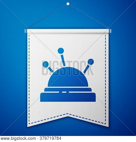 Blue Needle Bed And Needles Icon Isolated On Blue Background. Handmade And Sewing Theme. White Penna