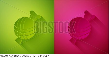 Paper Cut Yarn Ball With Knitting Needles Icon Isolated On Green And Pink Background. Label For Hand