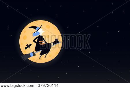 Happy Halloween. Laughing Witch Flies On A Broomstick Against The Background Of The Moon And The Nig