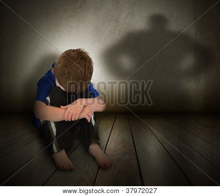 Sad Abused Boy with Anger Shadow
