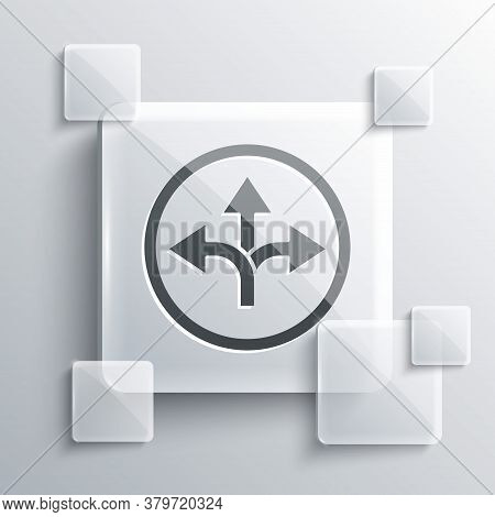 Grey Road Traffic Sign. Signpost Icon Isolated On Grey Background. Pointer Symbol. Isolated Street I