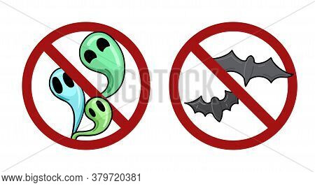 Set Of Bats And Ghost In Prohibition Signs. Ban On Halloween. Prohibition Of Witchcraft. Vector Holi