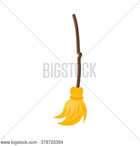Isolated Broom Of A Witch On A White Background.
