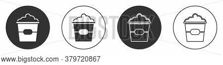 Black Popcorn In Cardboard Box Icon Isolated On White Background. Popcorn Bucket Box. Circle Button.