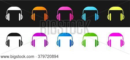 Set Headphones Icon Isolated On Black And White Background. Support Customer Service, Hotline, Call