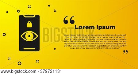 Black Eye Scan Icon Isolated On Yellow Background. Scanning Eye. Security Check Symbol. Cyber Eye Si