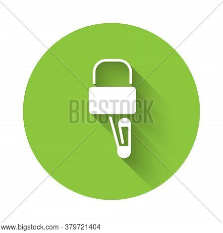 White Lockpicks Or Lock Picks For Lock Picking Icon Isolated With Long Shadow. Green Circle Button.