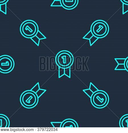 Green Line Medal Icon Isolated Seamless Pattern On Blue Background. Winner Achievement Sign. Award M