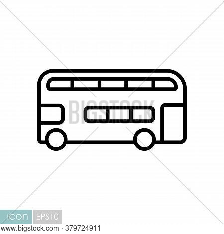 Double Decker Bus Flat Vector Icon. Graph Symbol For Travel And Tourism Web Site And Apps Design, Lo