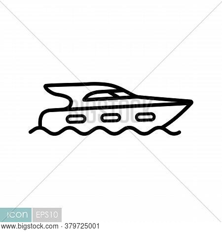 Cruising Motor Yacht Flat Vector Icon. Graph Symbol For Travel And Tourism Web Site And Apps Design,