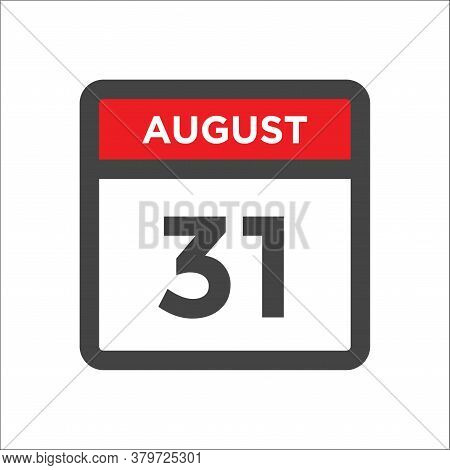 August 31 Calendar Icon With Day And Month