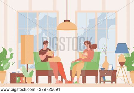 Happy Couple In Domestic Clothes Sitting In Comfortable Armchairs And Reading Books Vector Flat Illu