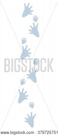 Beaver Tracks In Snow. Typical Footprints Of Castor. Isolated Icon Vector Illustration On White Back