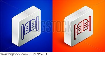 Isometric Line Old Western Swinging Saloon Door Icon Isolated On Blue And Orange Background. Silver