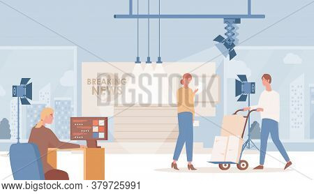 Shooting Of Daily Breaking News Vector Flat Illustration. Announcer Or Speaker Reading Breaking News