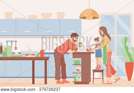 Family Time Vector Flat Illustration. Happy Mother, Father, And Daughter Cooking Pancakes Or Pie For
