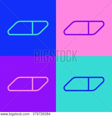 Pop Art Line Eraser Or Rubber Icon Isolated On Color Background. Vector Illustration