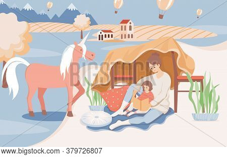 Happy Smiling Mother Reading A Book To Her Daughter Before Going Sleep Vector Flat Illustration. Wom