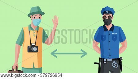 Maintain Social Distance During Quarantine Poster Template. Traveler Or Tourist And Policeman In Pro