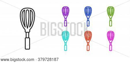 Black Line Kitchen Whisk Icon Isolated On White Background. Cooking Utensil, Egg Beater. Cutlery Sig