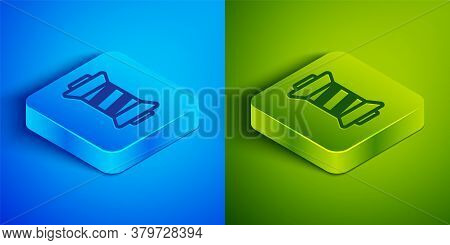 Isometric Line Sewing Thread On Spool Icon Isolated On Blue And Green Background. Yarn Spool. Thread