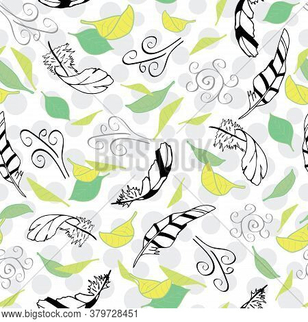 Vector White With Feathers From The Feather Flight Collection Seamless Pattern Background. Features