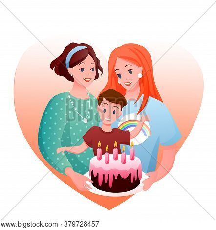 Lesbian Family Celebration Vector Illustration. Cartoon Flat Happy Woman Parent Characters With Boy