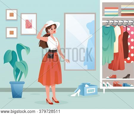Fashion Woman Flat Vector Illustration. Cartoon Young Female Character Standing By Mirror, Lady Dres