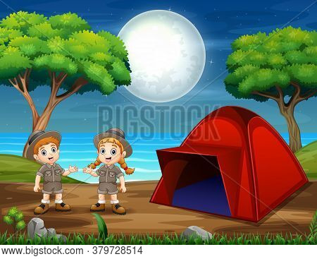 Illustration Of Camping Night Scene With Two Scouts