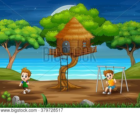 Happy Kids Playing In The Park Illustration