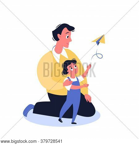 Father Time With Son Vector Illustration. Cartoon Flat Funny Family Characters Have Fun, Spend Time