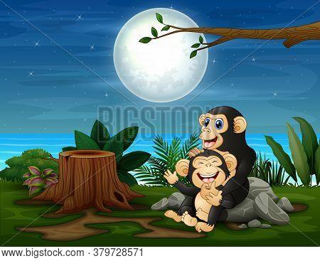 The Chimpanzee Having Fun At Night Landscape