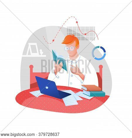 Home Work, Study Flat Vector Illustration. Cartoon Young Student Character Studying With Book And La