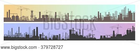 Industry, Factory And Manufacture Landscape Vector Illustrations. Cartoon Flat Industrial Panoramic