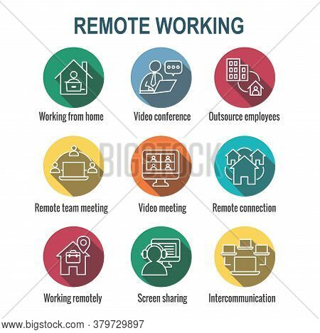 Remote Work Icon Set - Work From Home, Video Meetings, Etc