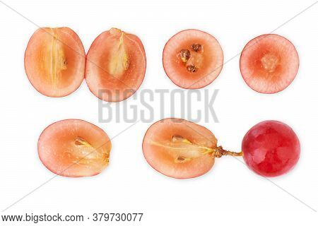 Ripe Red Grape Isolated On White. Collection. Full Depth Of Field.