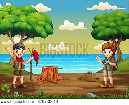 Cartoon Two Scouts In The Riverside Illustration