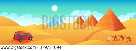 Travel To Egypt Banner. Car Trip To Pyramids Of Giza Cartoon Poster. Tour To Ancient Pharaoh Temples