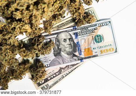 The Pot Buds. Cannabis Money Black Market. White Background. Cbd Thc Herb.