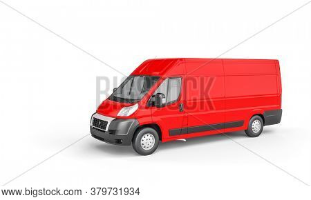 red cargo van for freight transport on white background. 3d render